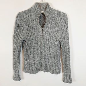 LL Bean Grey Long Sleeve ZIP Front Sweater Size M